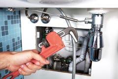 Rörmokeriarbete och sanitär teknik Arkivbild