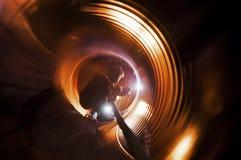 Rörsvetsning på rörledningkonstruktionen Royaltyfri Fotografi