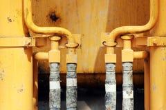 Rörsystem för hydrauliskt tryck av konstruktionsmaskineri Arkivbild