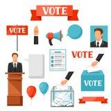 Rösta den politiska valuppsättningen av objekt Illustrationer för aktionbroschyrer, webbplatser och flayers royaltyfri illustrationer
