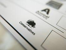Rösta formen med konservativ logo royaltyfria foton