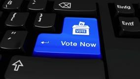 Rösta nu rund rörelse på knappen för datortangentbordet arkivfilmer