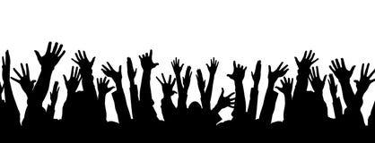 röstar den roliga deltagaren för folkmassan stock illustrationer
