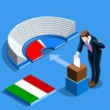 Röstar det italienska folket för det Italien valet på den isometriska valurnan royaltyfri illustrationer