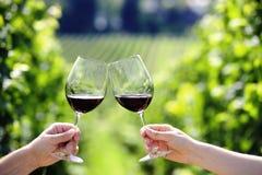 Rösten mit zwei Gläsern Rotwein Stockbilder