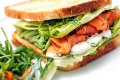 Rösten Sie Sandwich mit Lachsen, Gemüse und Salat auf weißer Platte Lizenzfreie Stockbilder