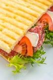 Rösten Sie Sandwich mit Schinken, Gemüse und Mozzarella auf weißer Platte Stockbild