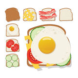 Röstet Ikone Satz Toast mit Käse, Gurke, Speck, Tomate Stockfoto