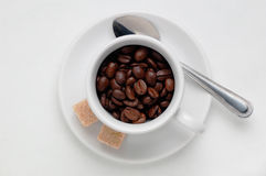 Röstkaffeebohnen in einer Kaffeetasse gegen weißen Hintergrund, Draufsicht mit Raum für Text Stockfoto