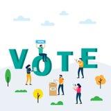 Röstning- och valbegrepp Rösta asken och väljare som gör beslut vektor illustrationer