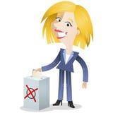 Röstningaffärskvinna med valurnan Royaltyfria Bilder