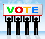 Röstningen röstar föreställer utvalda beslut och utvärdering stock illustrationer