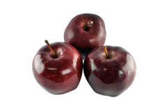 Rött äpple för grupp som isoleras på vit bakgrund Arkivbilder
