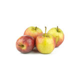 Rött äpple för guling som fyra isoleras på vit bakgrund Royaltyfria Bilder