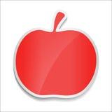 Rött äpple Klistermärke på vit bakgrund Arkivfoto