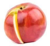 Rött äpple med avsnittet Arkivfoto