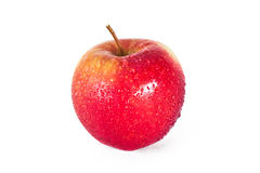 Rött äpple med droppar Arkivfoton