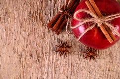 Rött äpple med kanelbruna pinnar och anis Arkivfoton