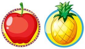 Rött äpple och ananas på runda emblem royaltyfri illustrationer