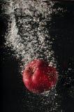 Rött äpple som faller in i vatten Arkivfoto