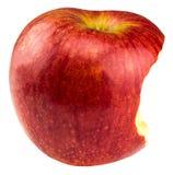 Rött äpple som har varit biten in i isolerat på vit bakgrund arkivbild