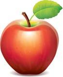 Rött äpple som isoleras på vit Arkivfoto