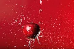 Rött äpple under att plaska på en röd bakgrund Arkivfoto