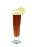 Rött öl med limefrukt royaltyfri fotografi
