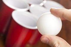 Rött öl Pong Cups Fotografering för Bildbyråer