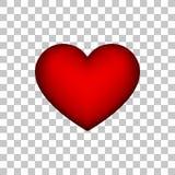 Rött abstrakt hjärtatecken med genomskinlig bakgrund Arkivbilder