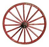 Rött antikt vagnhjul Arkivfoton
