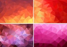 Rött, apelsin och rosa låga poly bakgrunder, vektoruppsättning Arkivbild