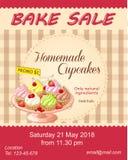 Rött baka reklambladet för försäljningsbefordran med muffin på plattan Royaltyfri Foto