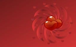 Rött bakgrundsskrivbord för hjärtor Arkivbilder