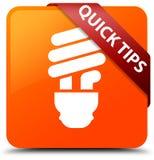 Rött band för snabb för apelsinfyrkant för spetsar (kulasymbol) knapp i hörn stock illustrationer