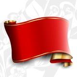 Rött band med det guld- bandet Arkivfoton
