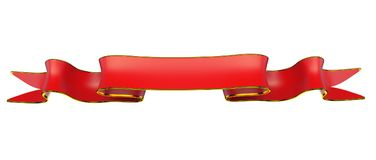 Rött band med guld- list som är användbar som emblem eller emblem Arkivfoto