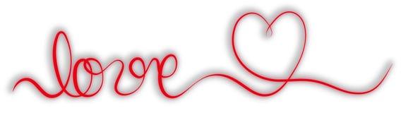 Rött bandbaner för enkel slaglängd med ordförälskelse och hjärta Royaltyfria Foton