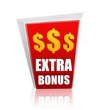 Rött baner för extra bonus med dollartecken Royaltyfri Bild