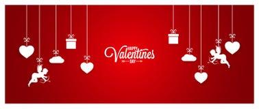 Rött baner för valentindag på vit bakgrund Royaltyfria Bilder