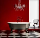 Rött barockt klassiskt badkar stock illustrationer