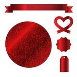 Rött blänka illustrationen för vektorn för symbolen för gnistrandeetikettsetiketten för garnering Arkivfoto