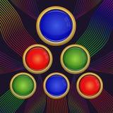 Rött, blått och grönt runt glass tecken av olika format Royaltyfria Foton
