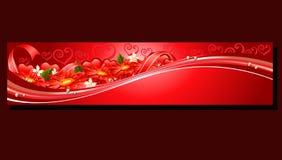 rött blommabaner för valentin Arkivbild