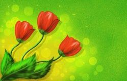 Rött blommahälsningkort Arkivbild