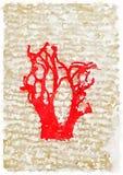 Rött broderat träd för DW Royaltyfri Foto