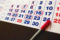 RÖTT CIRKLA Fläck på kalendern Royaltyfria Bilder