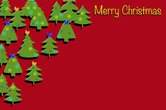 Rött dekorativt kort med julgranar Royaltyfria Foton