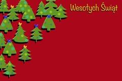 Rött dekorativt kort med julgranar Arkivfoto