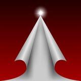 Rött designsnittpapper som en julgran stock illustrationer